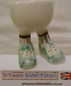 Carlton Ware Lustre Pottery Walking Ware Lt Green Shoes Standing Eggcup on Stand - SOLD